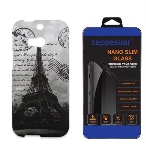 Cepsesuar Htc One M8 Kılıf Desenli Arka Kapak Paris Yazılı - Kırılmaz Cam