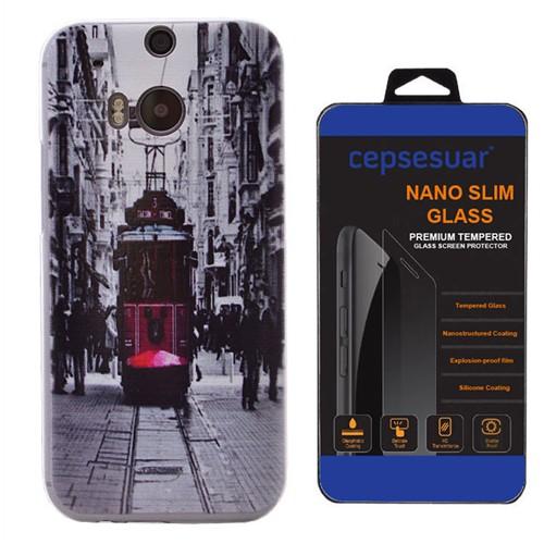 Cepsesuar Htc One M8 Kılıf Silikon Resimli Tramvay - Kırılmaz Cam