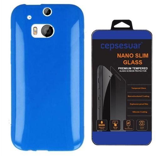 Cepsesuar Htc One M8 Kılıf Silikon Mavi - Kırılmaz Cam