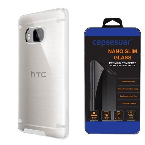 Cepsesuar Htc One M9 Kılıf Silikon 4 Noktalı Beyaz - Kırılmaz Cam