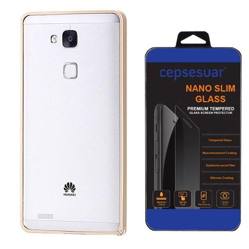 Cepsesuar Huawei Ascend Mate 7 Kılıf Bumper Gold - Kırılmaz Cam