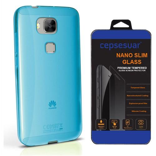 Cepsesuar Huawei G8 Kılıf Silikon 0.2 Mm Mavi - Kırılmaz Cam