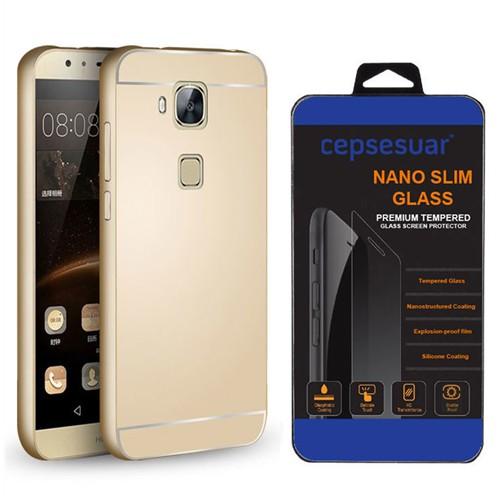 Cepsesuar Huawei Gr5 Kılıf Aynalı Bumper Gold - Kırılmaz Cam