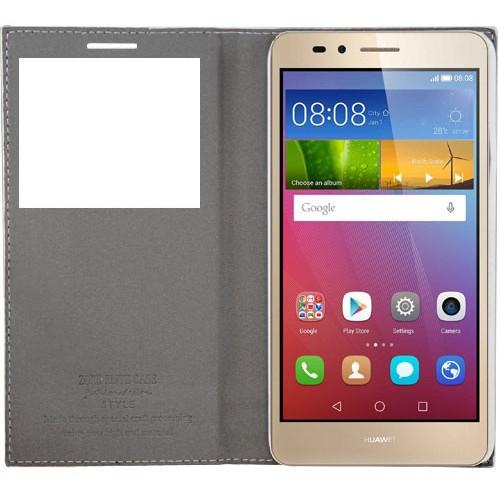 Cepsesuar Huawei Gr5 Kılıf Elite Kapaklı Beyaz - Kırılmaz Cam