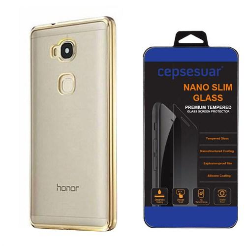 Cepsesuar Huawei Gr5 Kılıf Silikon Lazer Gold - Kırılmaz Cam