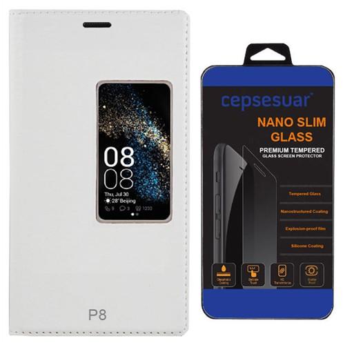 Cepsesuar Huawei P8 Kılıf Kapaklı Dolce Beyaz - Kırılmaz Cam