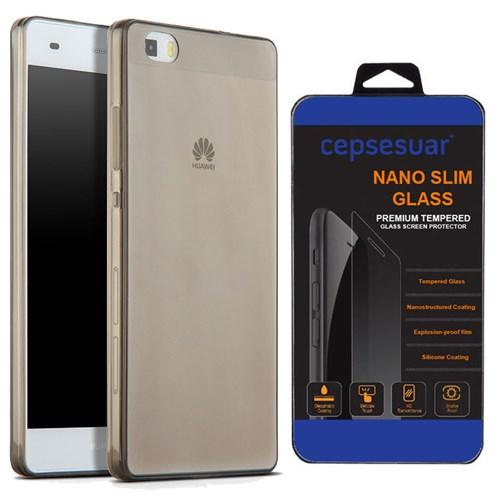 Cepsesuar Huawei P8 Lite Kılıf Silikon 0.2 Mm Siyah - Kırılmaz Cam