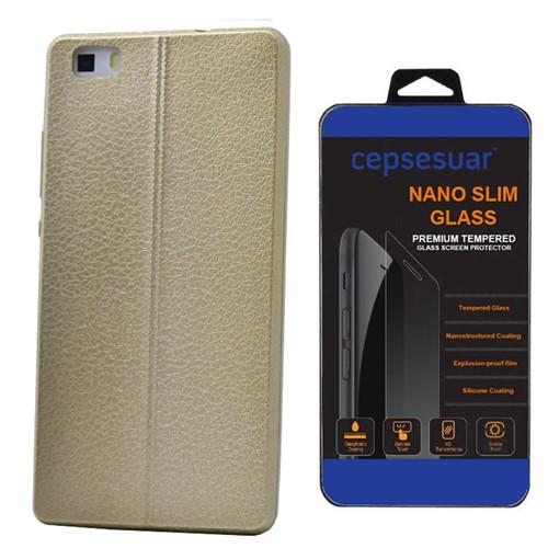 Cepsesuar Huawei P8 Lite Kılıf Silikon Dikişli Gold - Kırılmaz Cam