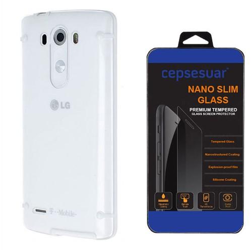 Cepsesuar Lg G3 Kılıf Silikon 4 Noktalı Beyaz - Kırılmaz Cam