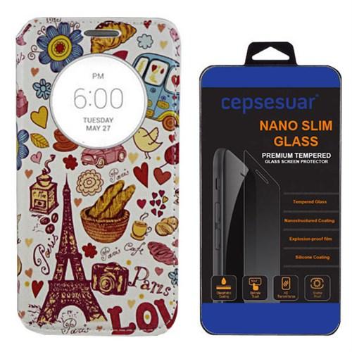 Cepsesuar Lg G3 Kılıf Standlı Paris Love - Kırılmaz Cam