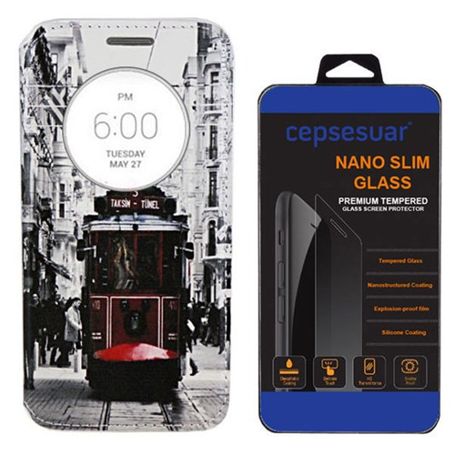 Cepsesuar Lg G3 Kılıf Standlı Tramvay - Kırılmaz Cam