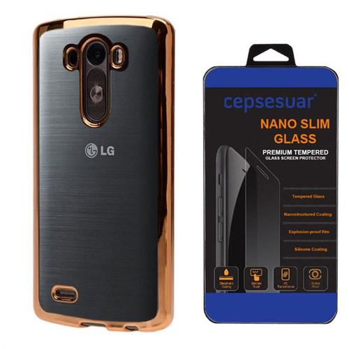 Cepsesuar Lg G3 Kılıf Silikon Lazer Gold - Kırılmaz Cam