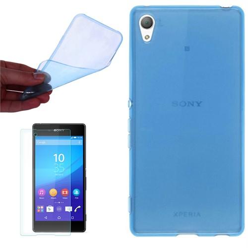Cep Market Sony Xperia Z1 Kılıf 0.2Mm Mavi Silikon - Kırılmaz Cam