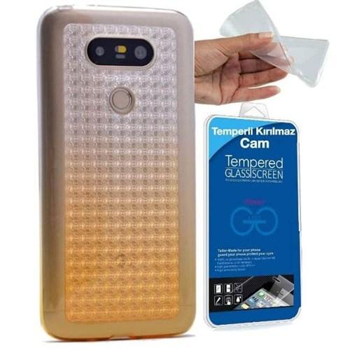 Teleplus Lg G5 Çift Renkli Tam Korumalı Silikon Kılıf Gold + Kırılmaz Cam