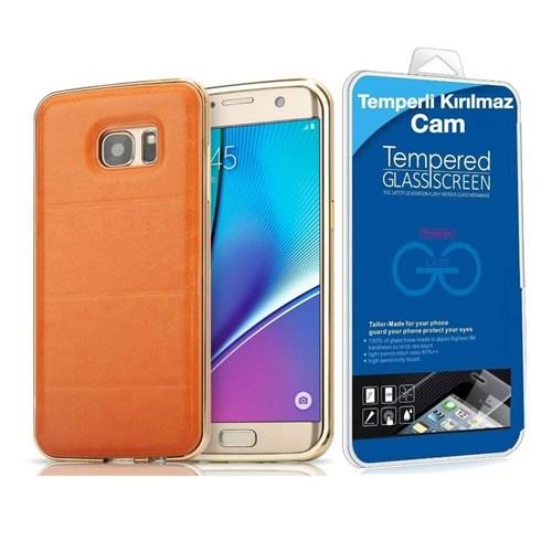 Teleplus Samsung Galaxy S7 Derili Metal Kılıf Kapak Gold + Kırılmaz Cam