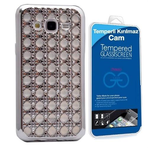 Teleplus Samsung Galaxy J7 Taşlı Silikon Kılıf Gümüş + Kırılmaz Cam