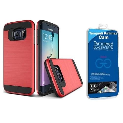Teleplus Samsung Galaxy S7 Edge Çift Katmanlı Kapak Kılıf Kırmızı + Kırılmaz Cam Kavis Kısmı Dahil
