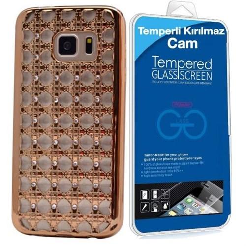 Teleplus Samsung Galaxy S6 Edge Taşlı Desenli Silikon Kılıf Gümüş + Kırılmaz Cam