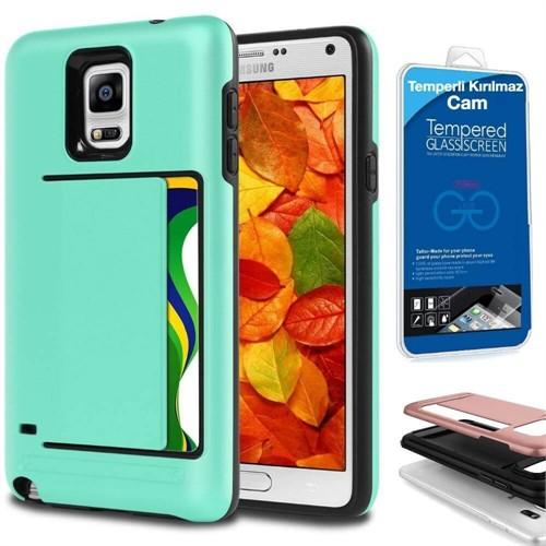 Teleplus Samsung Galaxy Note 3 Çift Koruma Cüzdanlı Kapak Kılıf Yeşil + Kırılmaz Cam