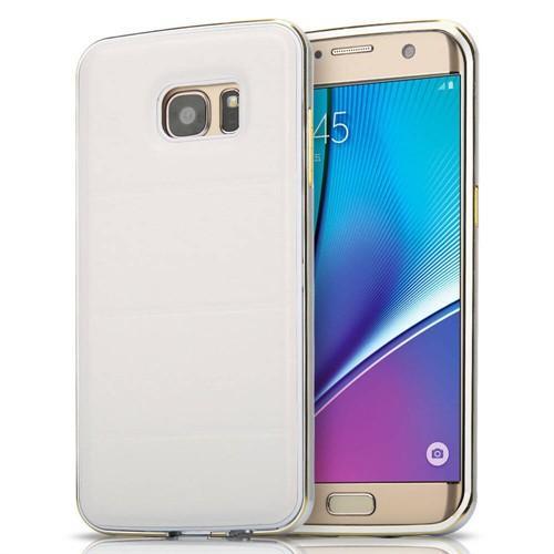 Teleplus Samsung Galaxy S7 Edge Derili Metal Kılıf Kapak Beyaz