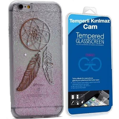 Teleplus İphone 6S Yeni Desenli Silikon Kılıf 7 + Kırılmaz Cam