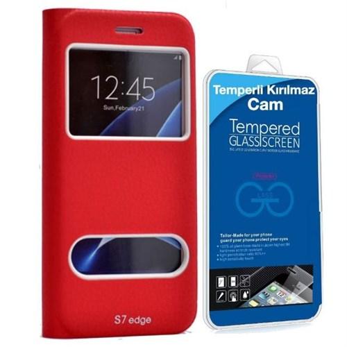 Teleplus Samsung Galaxy S7 Edge Yeni Çift Pencereli Kılıf Kırmızı + Kırılmaz Cam Kavis Kısmı Dahil