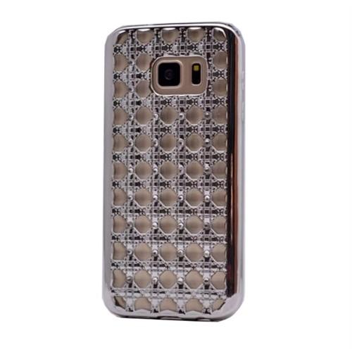 Teleplus Samsung Galaxy S7 Edge Taşlı Desenli Silikon Kılıf Gümüş