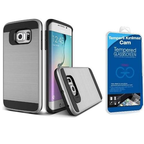 Teleplus Samsung Galaxy S7 Çift Katmanlı Kapak Kılıf Gümüş + Kırılmaz Cam