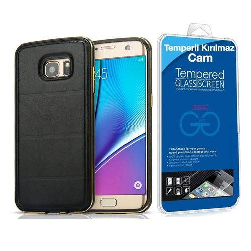 Teleplus Samsung Galaxy A5 2016 Derili Metal Kılıf Kapak Siyah + Kırılmaz Cam