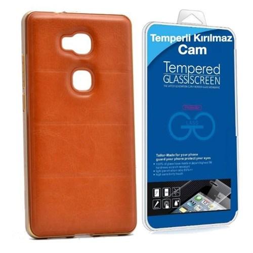 Teleplus Huawei Gr5 Derili Metal Çerçeveli Kılıf Kahve + Kırılmaz Cam