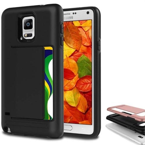 Teleplus Samsung Galaxy Note 4 Çift Koruma Cüzdanlı Kapak Kılıf Siyah