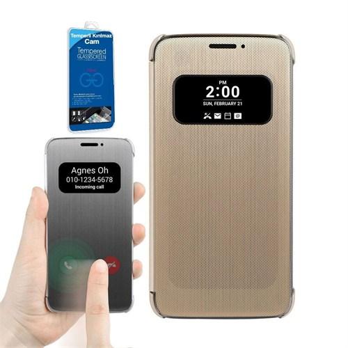 Teleplus Lg G5 Sensörlü Pencereli Kılıf Kapak Gold + Kırılmaz Cam
