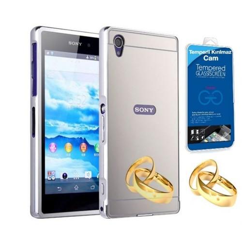 Teleplus Sony Xperia Z5 Compact Mini Aynalı Metal Kapak Kılıf Gümüş + Kırılmaz Cam