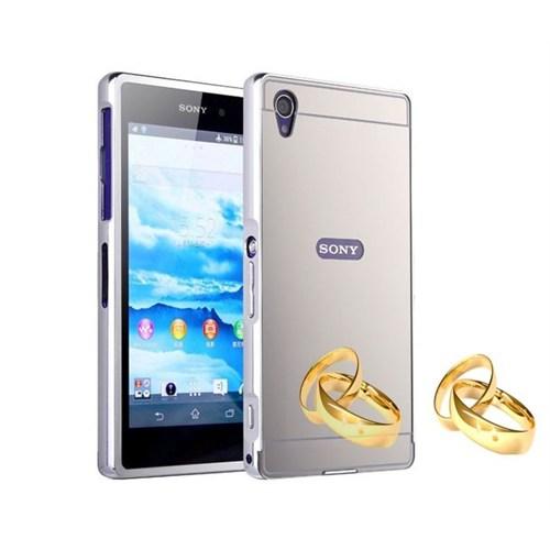Teleplus Sony Xperia Z5 Compact Mini Aynalı Metal Kapak Kılıf Gümüş