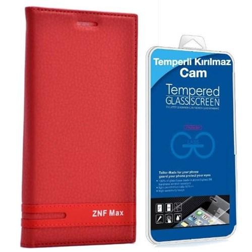 Teleplus Asus Zenfone Max Mıknatıslı Kapaklı Kılıf Kırmızı + Kırılmaz Cam