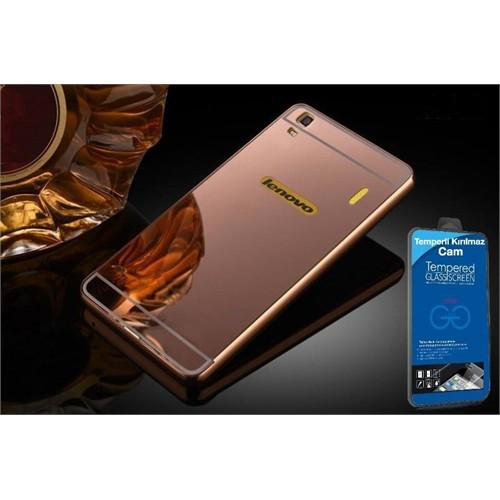 Teleplus Lenovo A7000 Aynalı Metal Kapak Kılıf Rose Gold + Kırılmaz Cam
