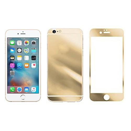 Microcase İphone 6-6S Ön Arka Takım Gold Tempered Glass Cam Koruma