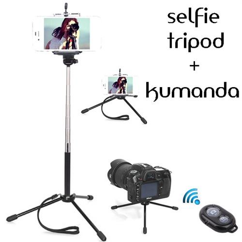 Coverzone Sony Xperia M5 Tripod Selfie Çubuğu 3 Ayak Stand - Kumanda 2İn1