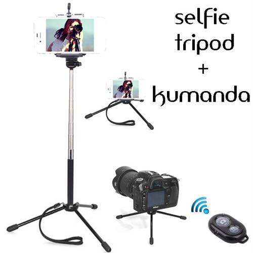 Coverzone Sony Xperia C3 Tripod Selfie Çubuğu 3 Ayak Stand - Kumanda 2İn1