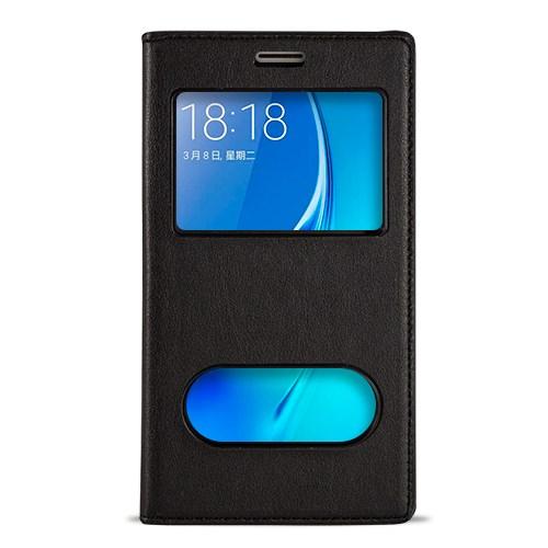 Fitcase Dolce Galaxy J1 2016 Gizli Mıknatıslı Pencereli Kılıf Siyah