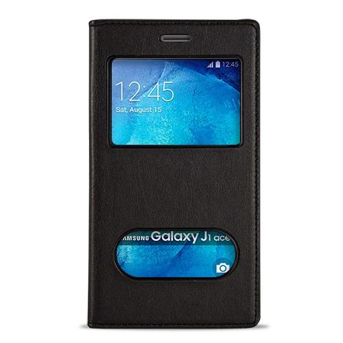 Fitcase Dolce Galaxy J1 Ace Gizli Mıknatıslı Pencereli Kılıf Siyah