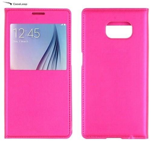 Case Leap Samsung Galaxy S7 Flip Cover Kılıf Pembe