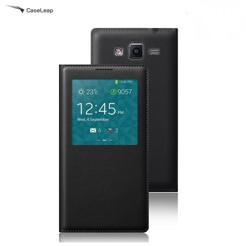 Case Leap Samsung Galaxy J5 Flip Cover Kılıf Siyah (Uyku Modlu)