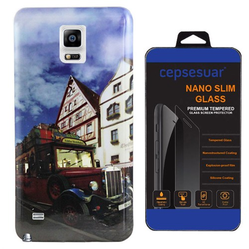 Cepsesuar Samsung Galaxy Note 4 Kılıf Silikon Resimli Araba + Kırılmaz Cam