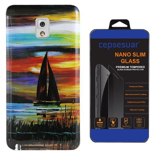 Cepsesuar Samsung Galaxy Note 3 Kılıf Silikon Resimli Yelken + Kırılmaz Cam