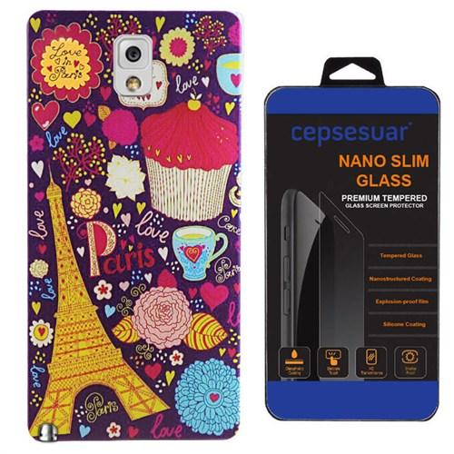 Cepsesuar Samsung Galaxy Note 3 Kılıf Silikon Desenli Paris Çiçek + Kırılmaz Cam