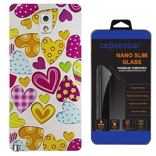 Cepsesuar Samsung Galaxy Note 3 Kılıf Silikon Desenli Kalpli + Kırılmaz Cam