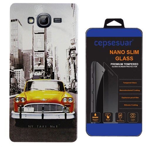 Cepsesuar Samsung Galaxy Grand Duos İ9082 Kılıf Silikon Desenli Taksi + Kırılmaz Cam