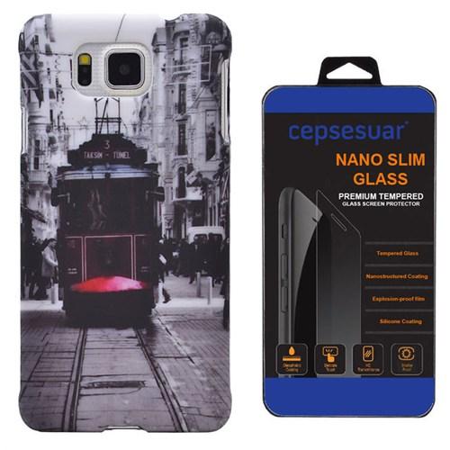 Cepsesuar Samsung Galaxy Alpha Kılıf Desenli Arka Kapak Tramvay + Kırılmaz Cam
