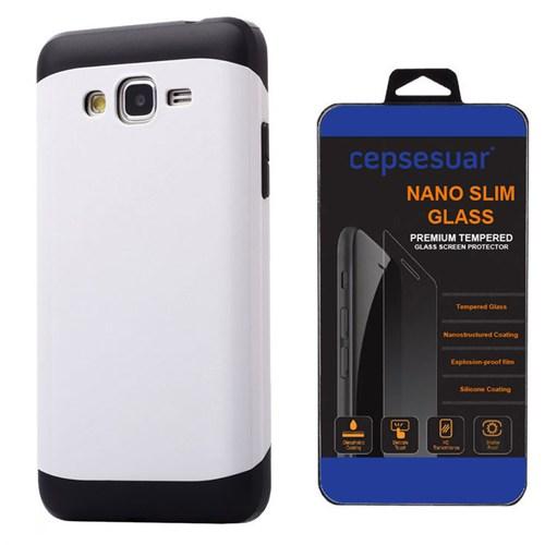 Cepsesuar Samsung Galaxy Grand Prime Kılıf Zgen Beyaz + Kırılmaz Cam